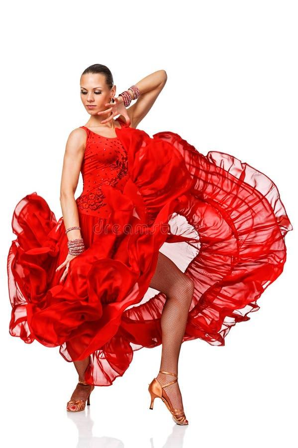 Dancergirl sensual do Latino na ação. Isolado fotos de stock