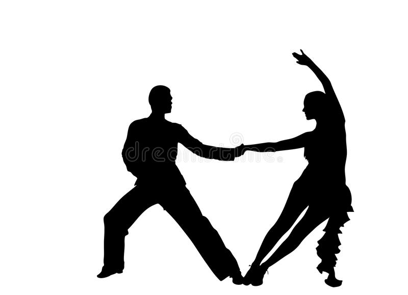 Dancers. Silhouettes on the white background stock illustration