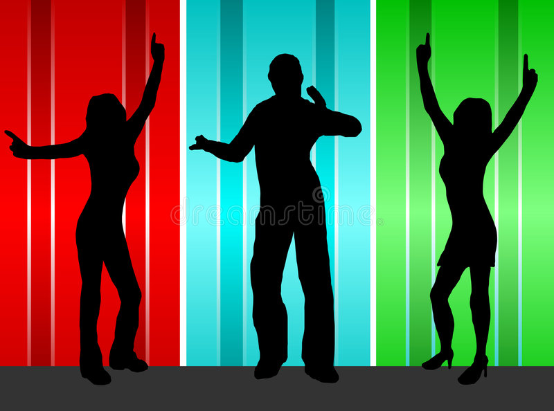 Dancers. A group of dancers in silhouette on a stage in front of a red, blue and green satin effect background. The additional format is saved as a vector in AI8 vector illustration