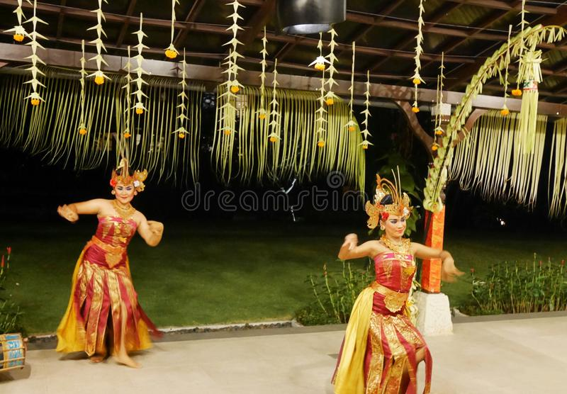 Dancers in Bali, Balinese girls royalty free stock photo