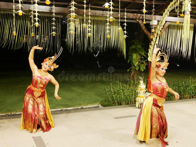 Dancers in Bali, Balinese girls, national dances stock image