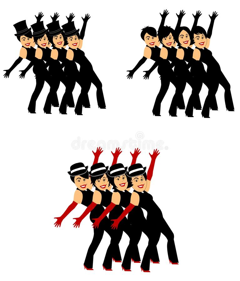 Dancers in chorus line. Dancers from play in chorus line in 3 styles vector illustration