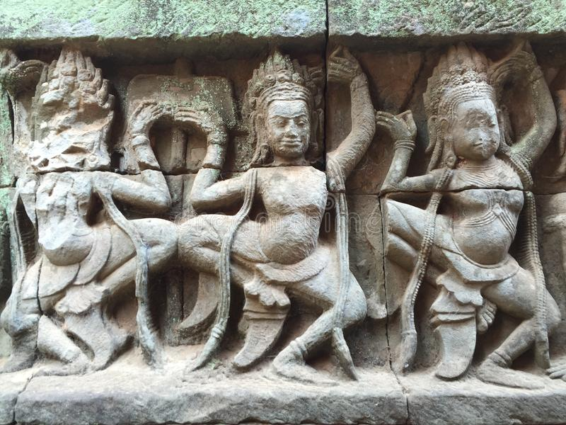 Dancers. Detail at Angkor Wat temple royalty free stock images