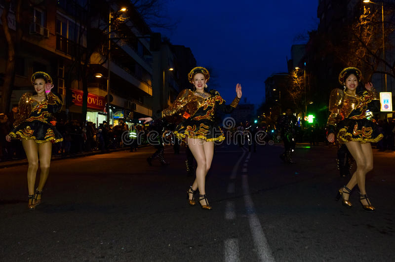 Dancers from the Grand Carnival Parade 2016 in Madrid, Spain royalty free stock images