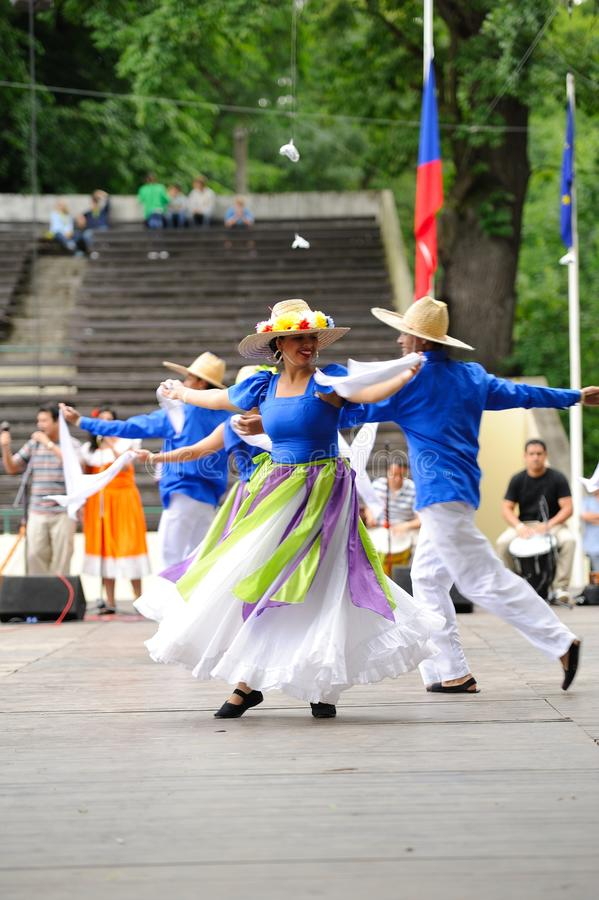 Dancers of group Venezuela. Teirra de Encanto (Caracas, Venezuela) on International Folk Festival in Straznice 2011, Czech Republic stock photos