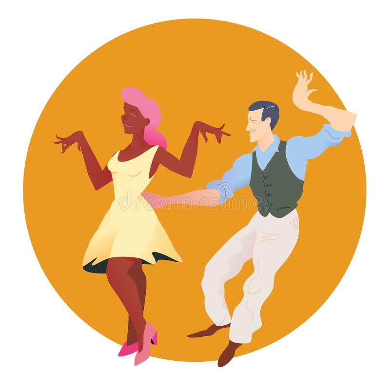 Dancers of Lindy hop. The man and the woman of different nationalities dance. Flat vector illustration of social dance. Dancers of Lindy hop. The man and the vector illustration