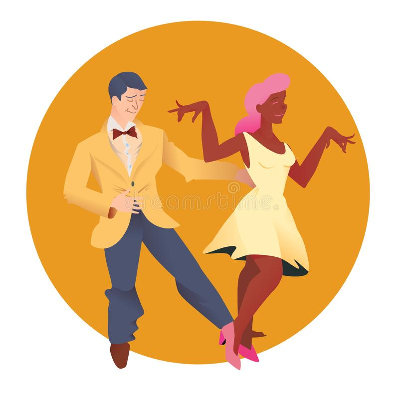 Dancers of Lindy hop. The man and the woman of different nationalities dance. Flat vector illustration of people. Dancers of Lindy hop. The man and the woman of vector illustration