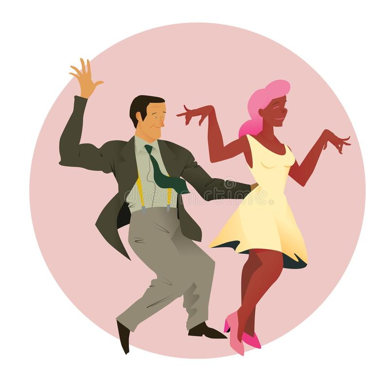 Dancers of Lindy hop. The man and the woman of different nationalities dance. Flat vector illustration of social dance. Dancers of Lindy hop. The man and the stock illustration