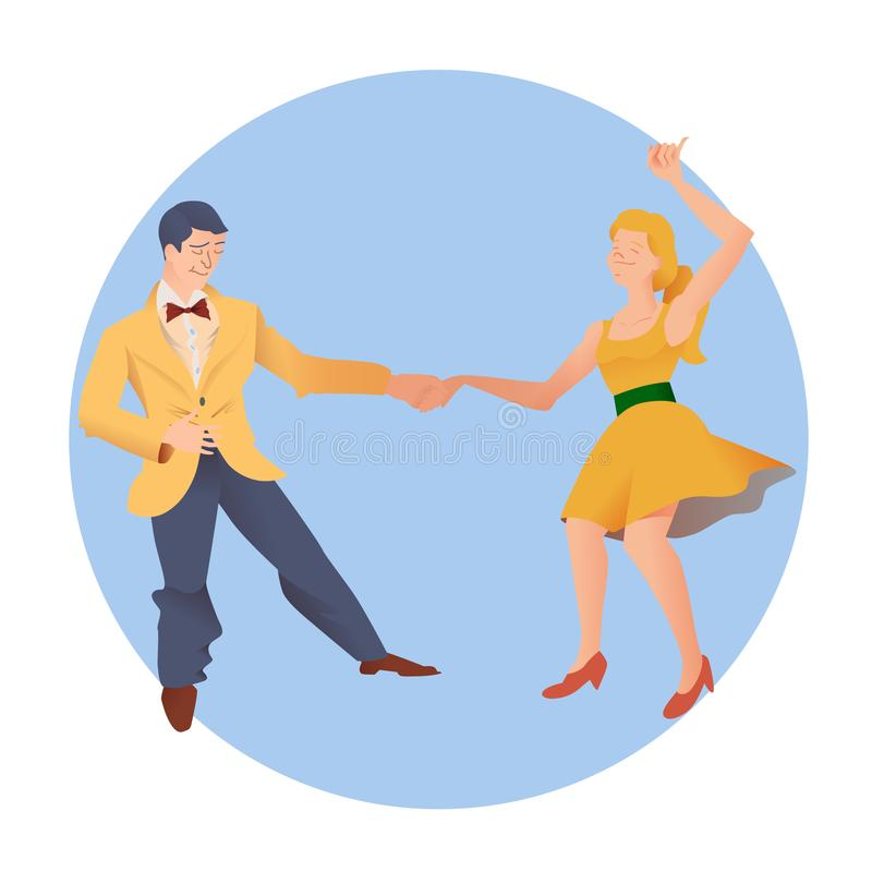 Dancers of Lindy hop. The man and the woman isolated in a blue circular background. Flat vector illustration of social dance. Dancers of Lindy hop. The man and royalty free illustration