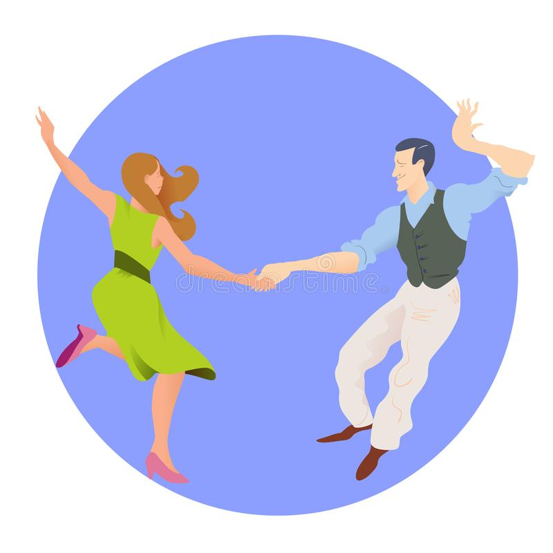 Dancers of Lindy hop. The man and the woman isolated in a blue circular background. Flat vector illustration of people. Dancers of Lindy hop. The man and the stock illustration
