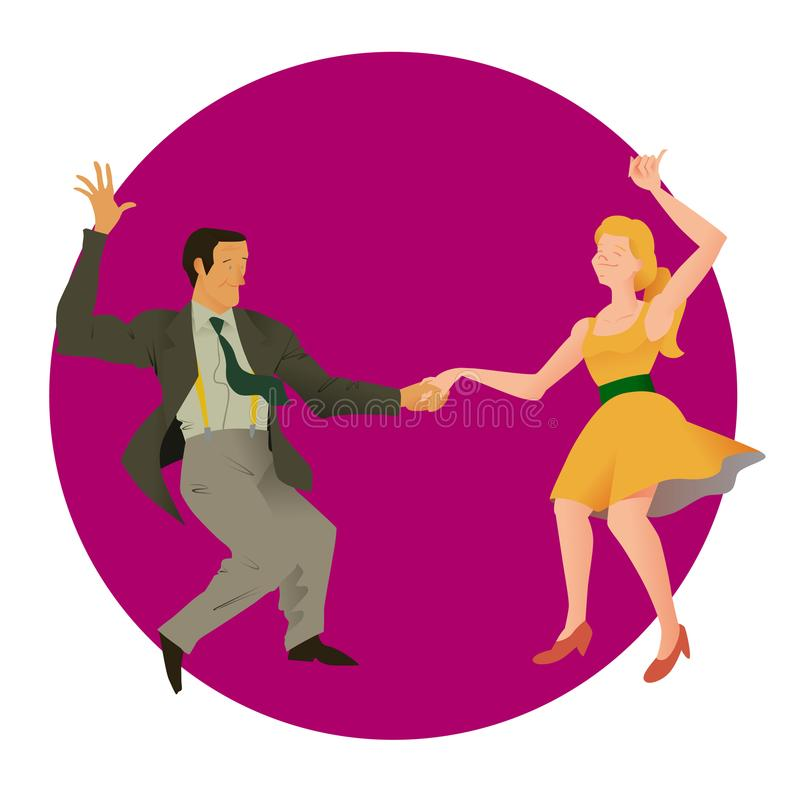 Dancers of Lindy hop. The man and the woman isolated in a purple circular background. Flat vector illustration of social dance. vector illustration