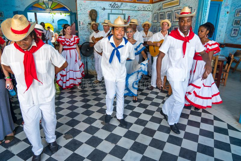 Dancers and musicians perform cuban folk dance stock image