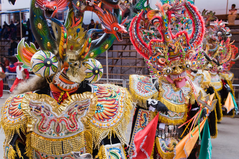 Dancers at Oruro Carnival in Bolivia royalty free stock images
