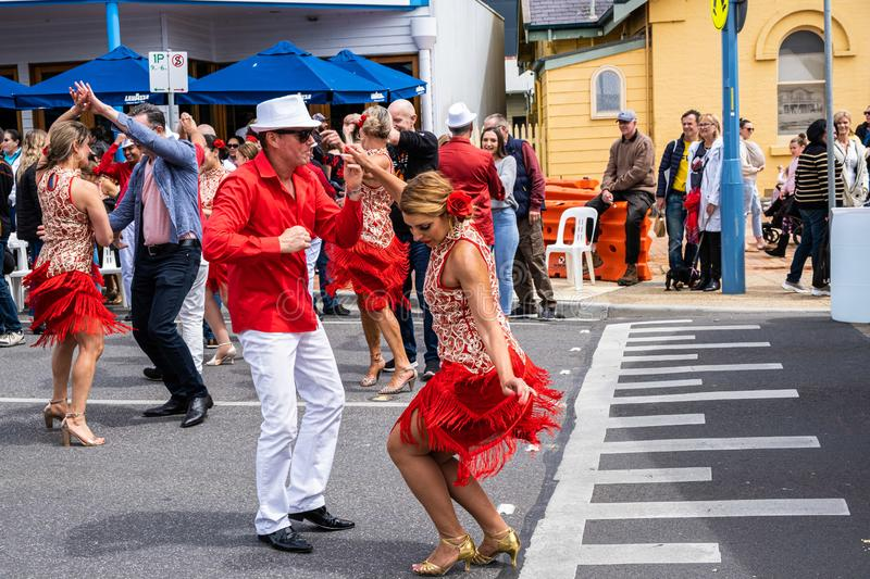 Dancers performing dance moves on the streets. royalty free stock photos