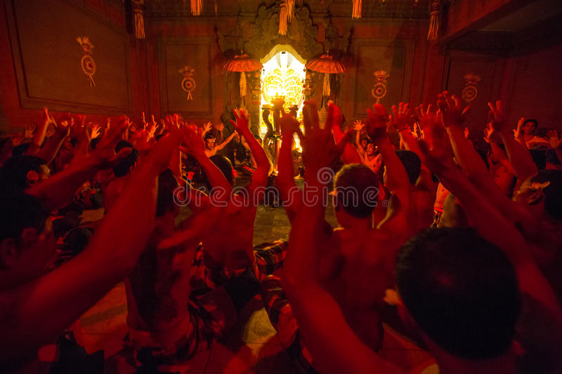 Dancers performing traditional balinese Kecak Trance Fire Dance. royalty free stock image