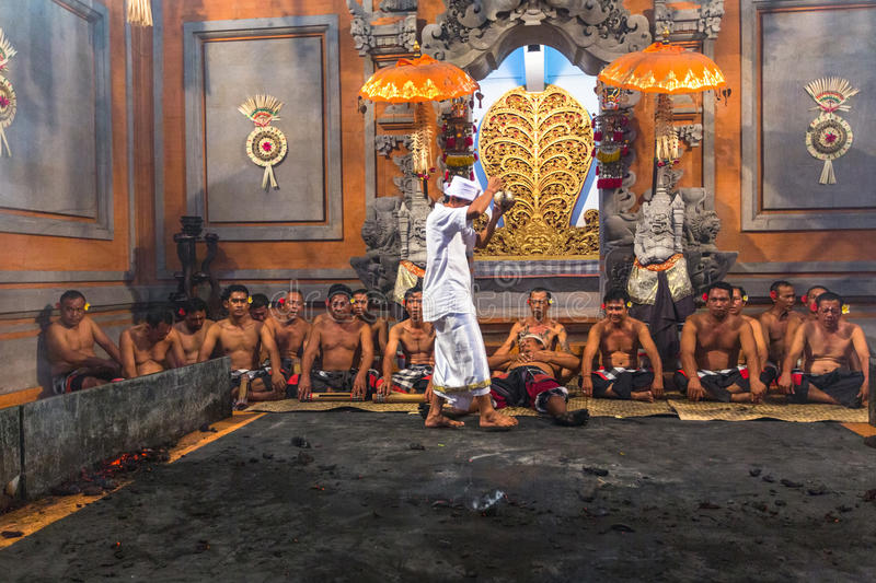 Dancers performing traditional balinese Kecak Trance Fire Dance. royalty free stock photography