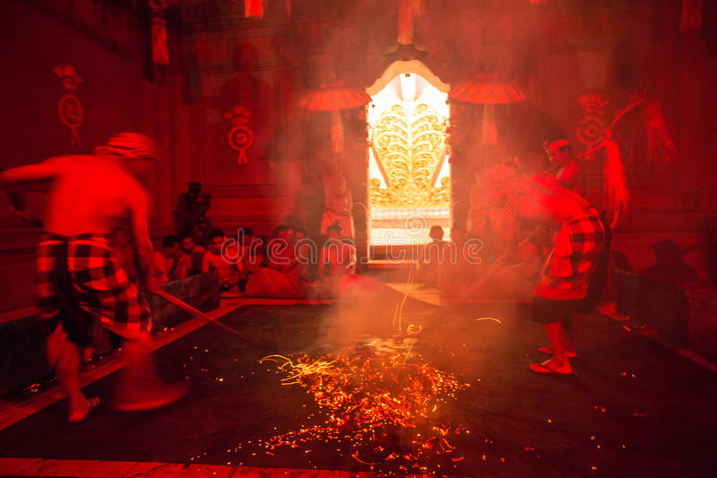 Dancers performing traditional balinese Kecak Trance Fire Dance. stock photo
