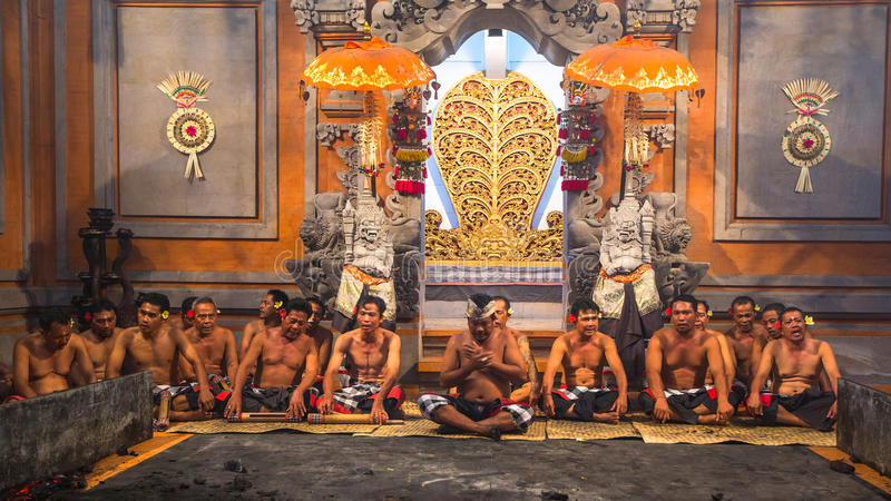 Dancers performing traditional balinese Kecak Trance Fire Dance royalty free stock images
