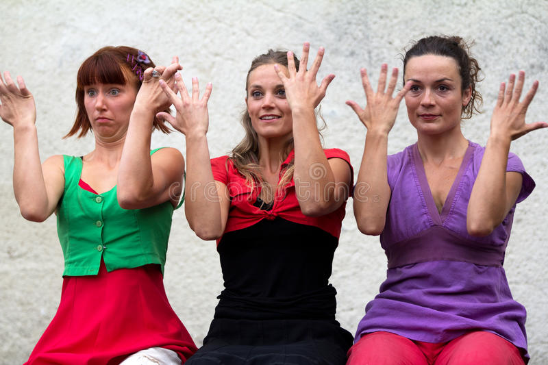 Dancers playing with their hands royalty free stock images