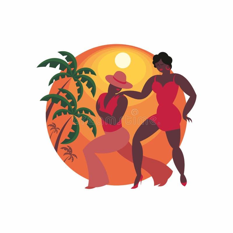 Dancers of salsa. Lady and gentleman dance Latin America salsa vector illustration