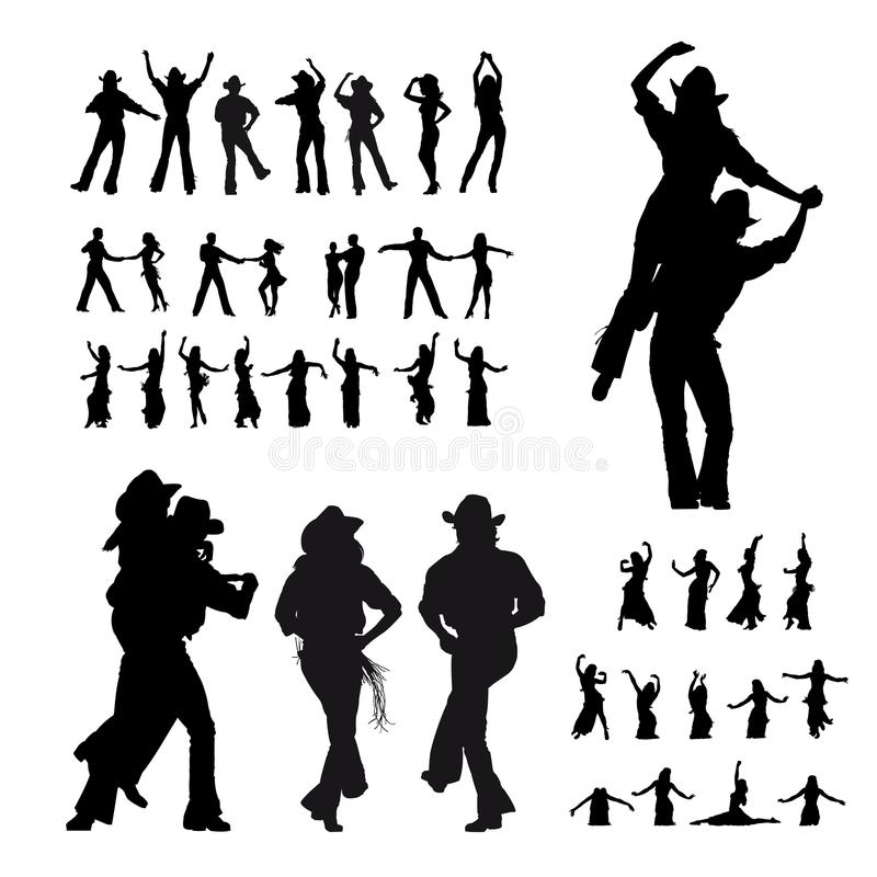 Dancers silhouette royalty free illustration