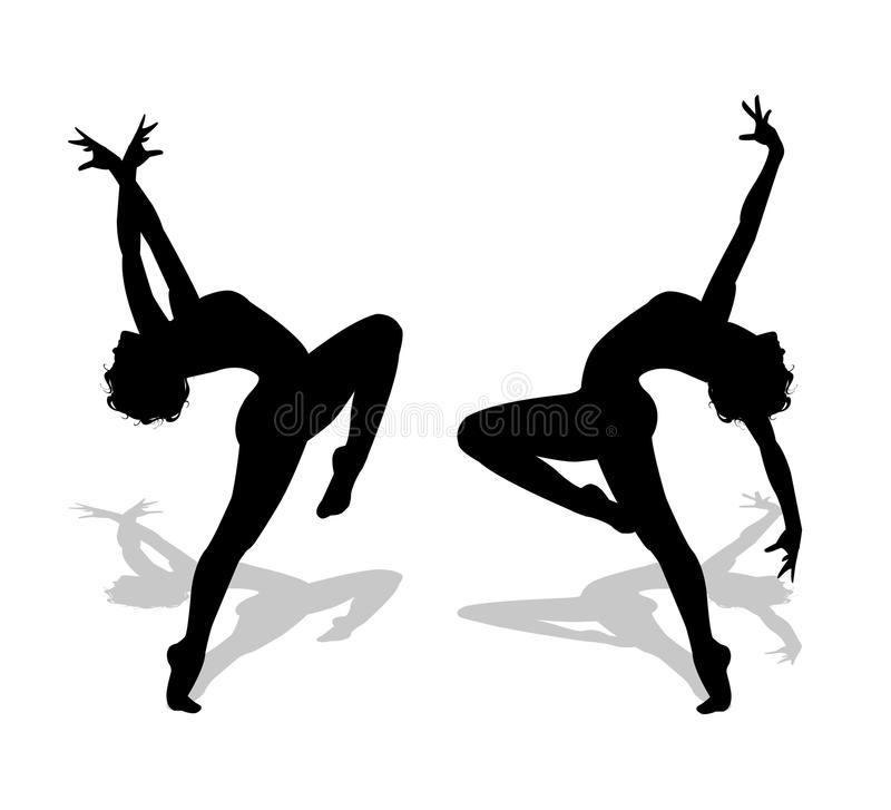 Dancers silhouettes. On white background stock illustration
