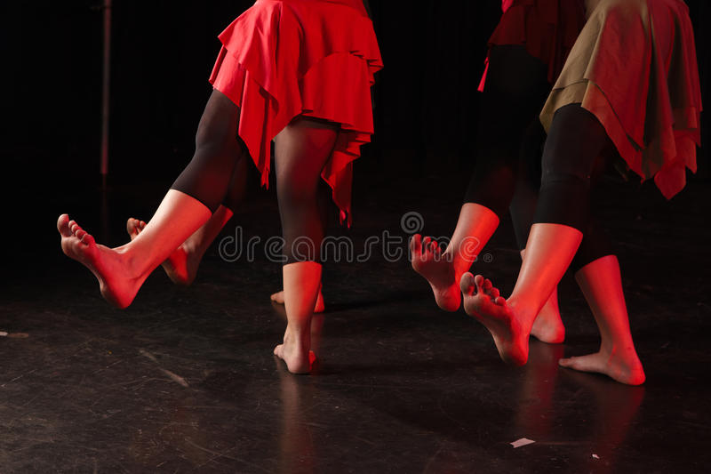 Dancers on stage stock image