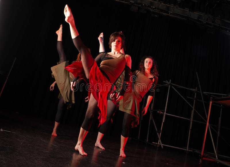 Dancers on stage stock images