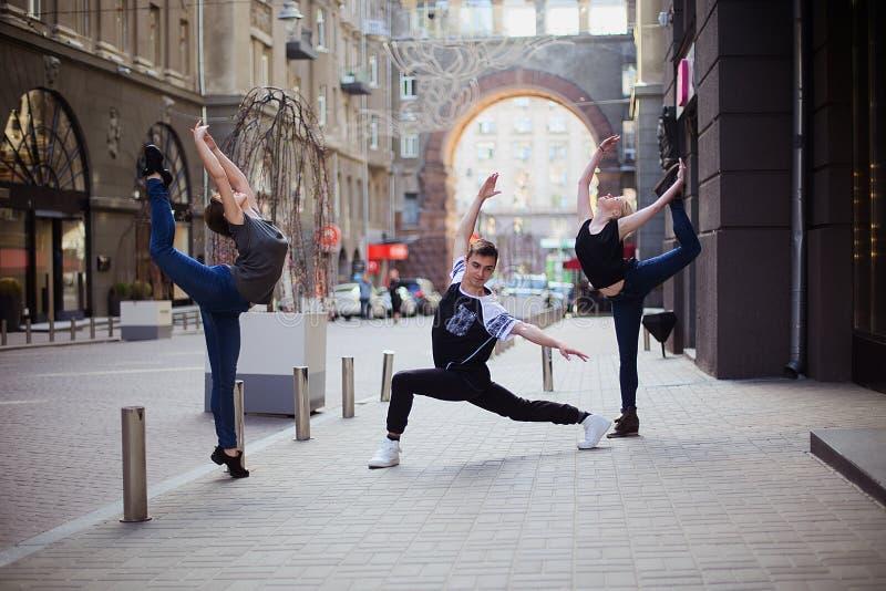 Dancers on the street stock photos