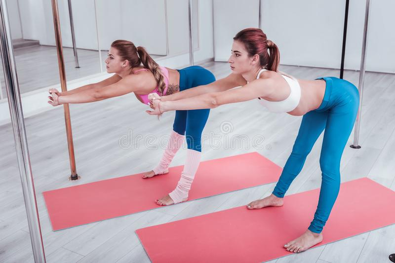 Two pole dancers stretching their legs and backs in pole dance studio. Dancers stretching. Two beautiful athletic pole dancers stretching their legs and backs in royalty free stock photography