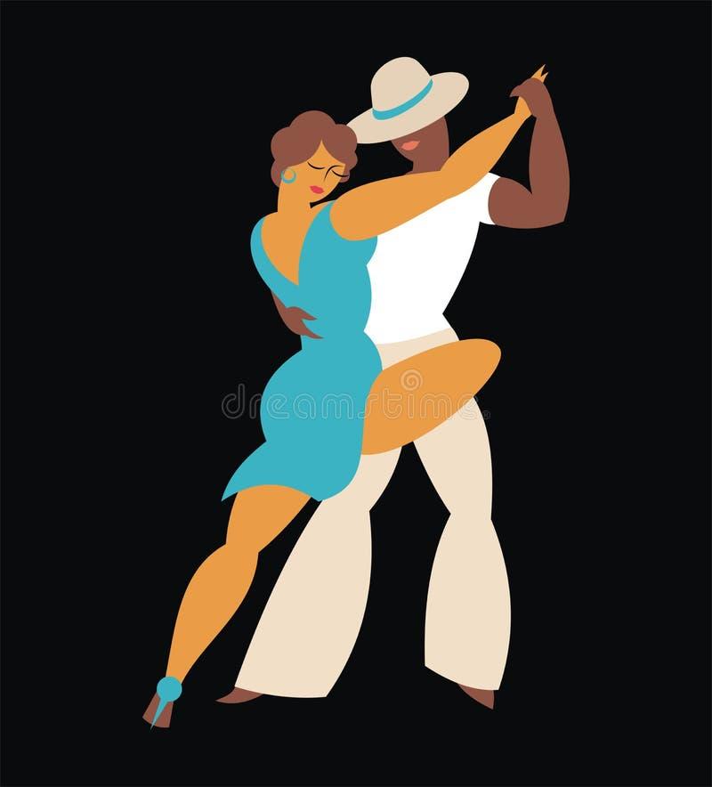 Dancers of tango. Lady and gentleman dance Latin America dance tango vector illustration