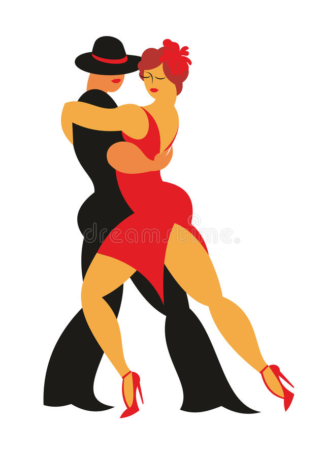 Dancers of a tango. Lady in a red dress and the gentleman in a hat dance the Argentina tango stock illustration