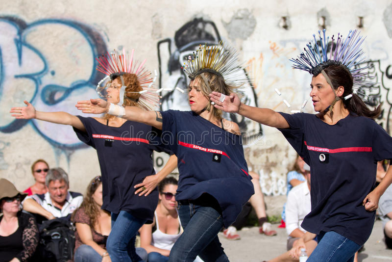 Dancers wearing funny hairstyles. royalty free stock photography