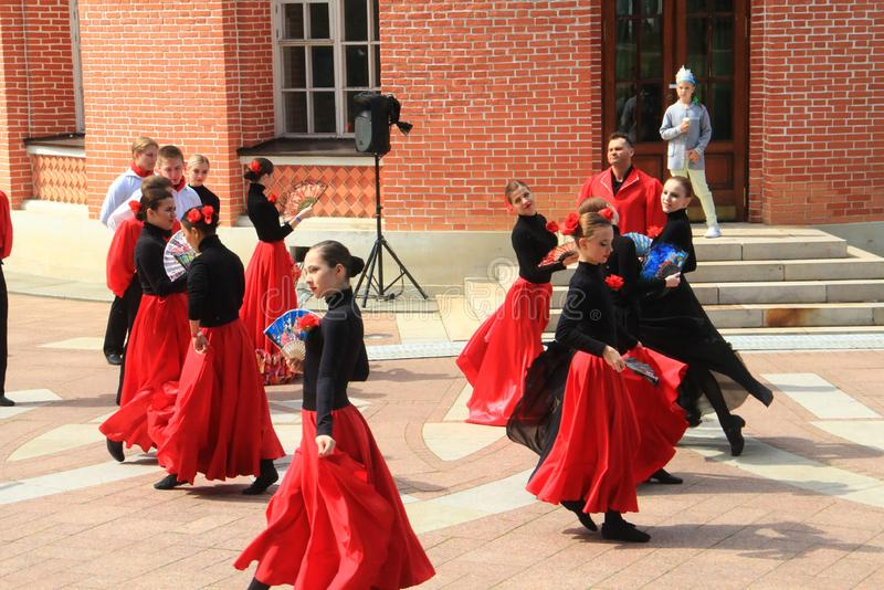 Dances near the Small Tsaritsyn Palace in Tsaritsyno, Moscow, Russia stock images