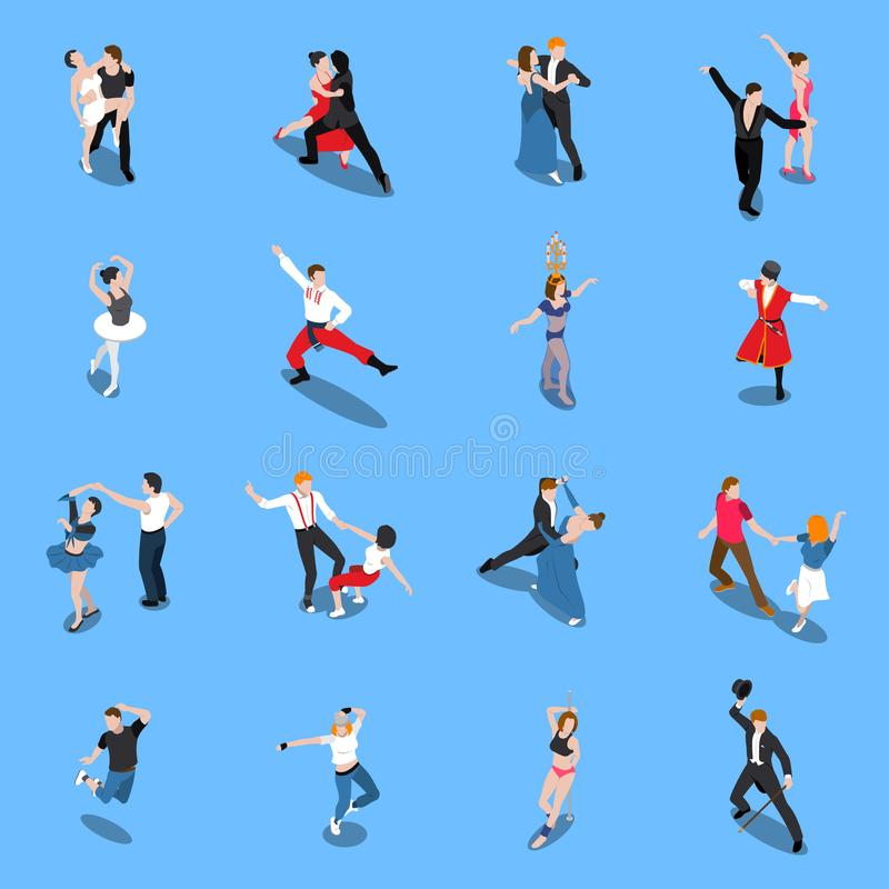 Dances Professional Performers Isometric People royalty free illustration