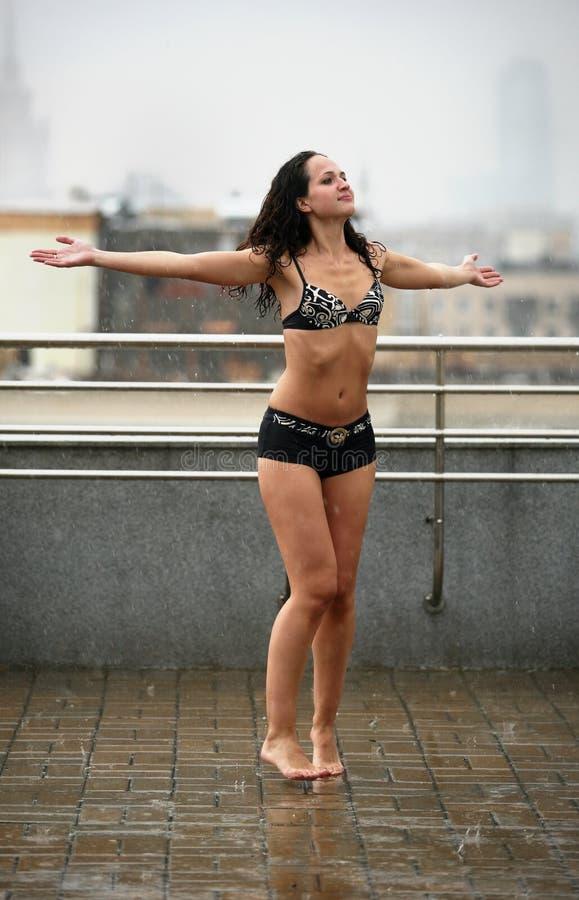 Dances under a rain royalty free stock images