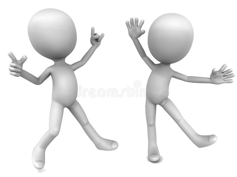 Dancing 3d men vector illustration
