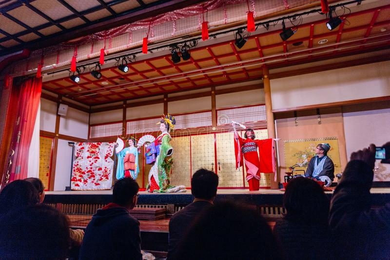 Dancing actresses of Oiran Show Geisha Showat Noboribetsu Date Judaimura history theme park highlighting the Edo Period stock photo