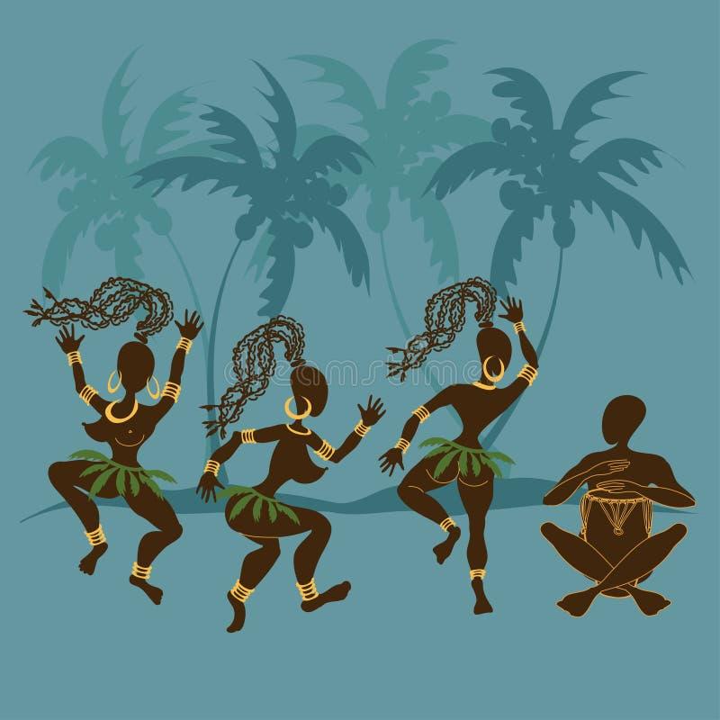 Dancing African aborigine girls and drummer. Illustration with dancing African aborigine girls and playing drummer royalty free illustration