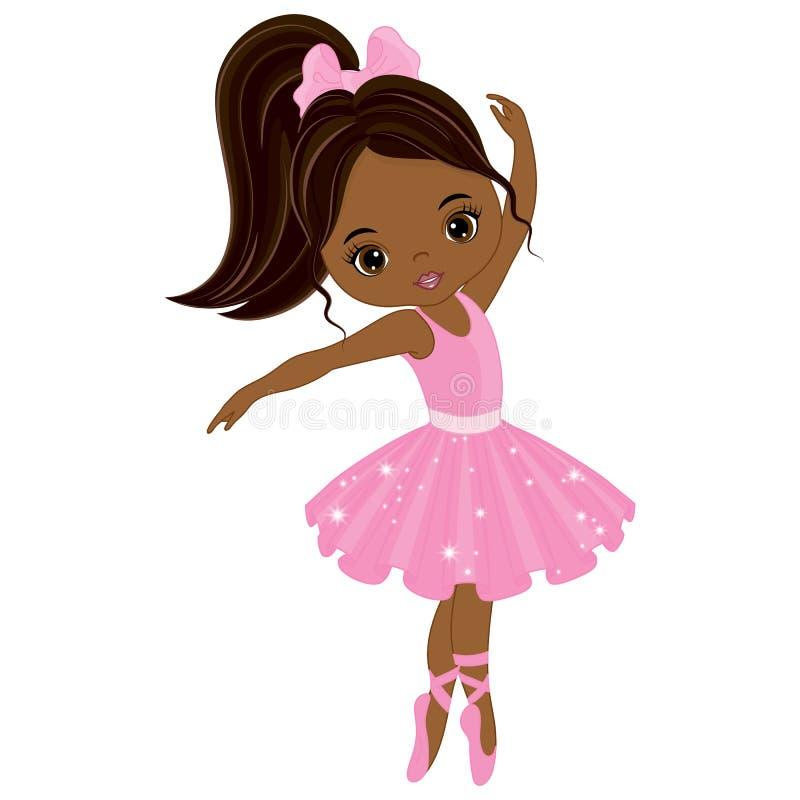 Dancing afroamericano sveglio della ballerina di vettore piccolo illustrazione vettoriale
