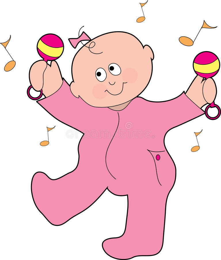 Dancing Baby Girl. A baby girl dancing with marachas in his pajamas vector illustration