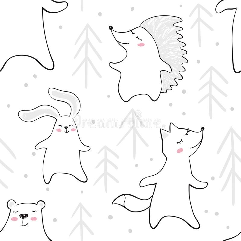 Dancing bear, fox, bunny, hedgehog in forest baby seamless pattern. Cute animal listens to music with fir tree. royalty free illustration