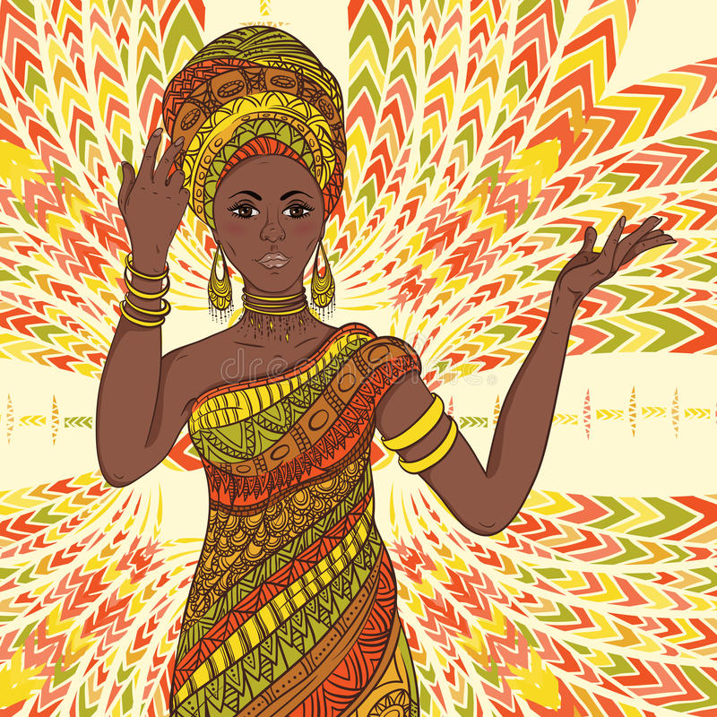 Dancing beautiful African woman in turban and traditional costume with ethnic geometric ornament full length. vector illustration