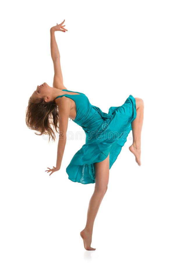 Dancing beautiful young woman stock images