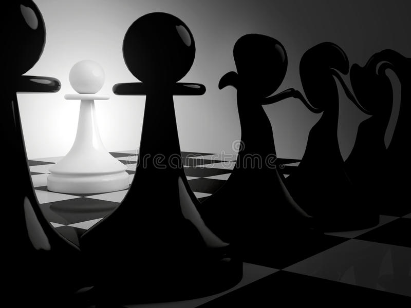 Dancing black pawns and alone white