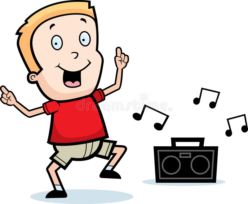 A Smiling Cartoon Child Dancing