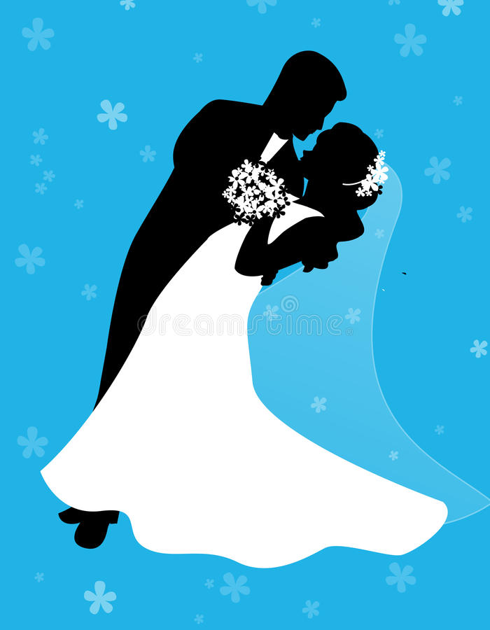Dancing bride and groom couple vector illustration