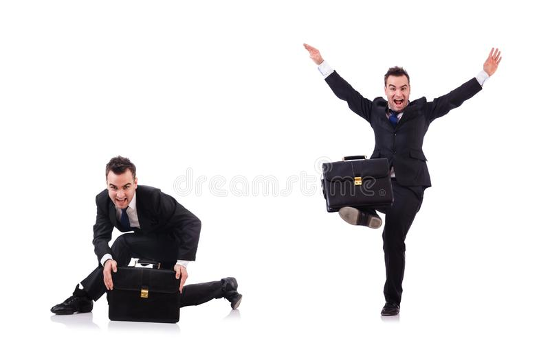 Dancing businessman isolated on the white royalty free stock images