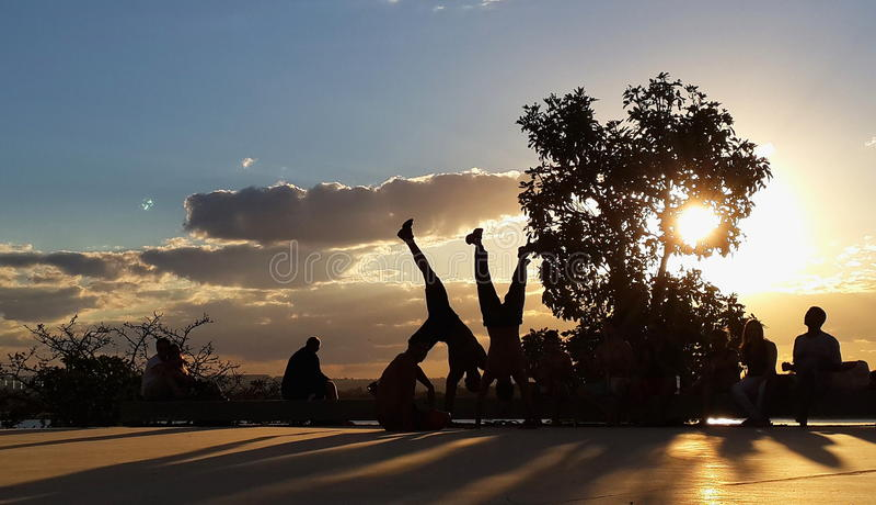 Dancing capoeira royalty free stock image