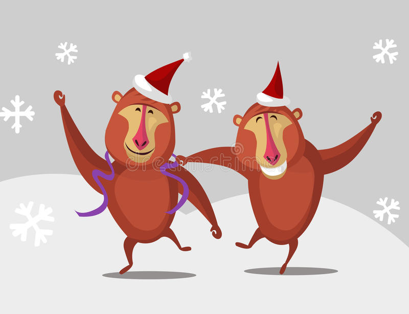 Dancing cartoon monkey in winter royalty free stock photo